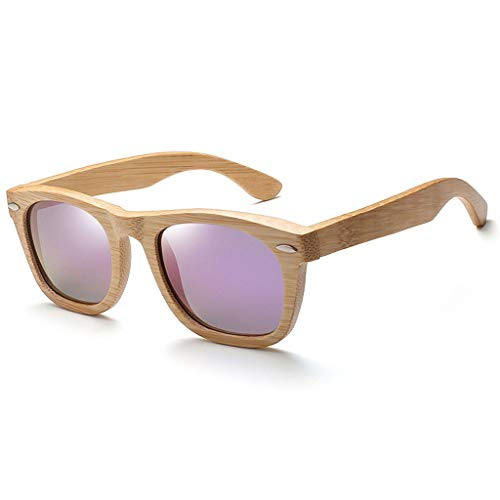 los los polarizados Americana Remaches Purple y Madera Madera Hombres de Color sol de Vidrios bambú bambú de Gafas Purple de de Gafas ZO6vqAx