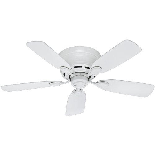 Hunter Indoor Low Profile IV Ceiling Fan, with pull chain control – 42 inch, White, 51059