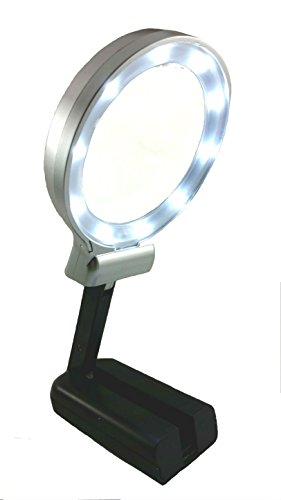 Magnifying Glass 3X 4.5X - Magnifier with LED lights For Reading, Craft, Jewelry, Watch Repair, Magnify Coin Notes - Standing Desk Lamp - Lens With Folding Stand - Handheld or Hands Free - Foldable Functional Three Light