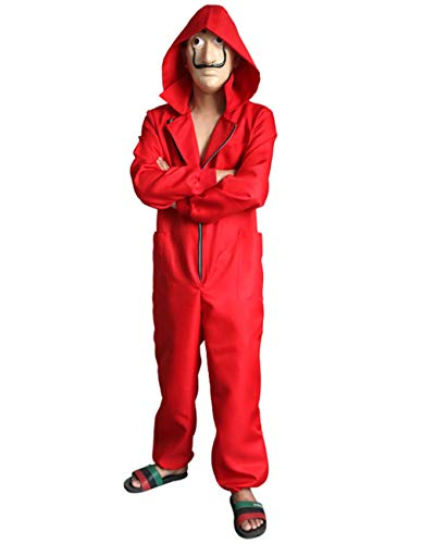 Halloween 2019 Coveralls (Angelaicos Unisex Dali Mask Red Costume for La Casa De Papel Jumpsuits 2019 New)