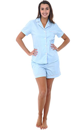 Alexander Del Rossa Womens Cotton Pajamas, Short Button Down Woven Pj Set, Medium Mint with White Dots (A0502R54MD)