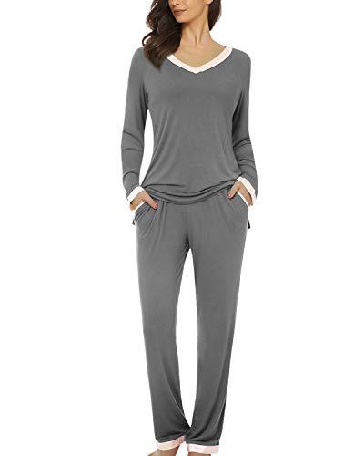 Suzicca Women's V Neck Comfort Pajamas Sleepwear Top with Pants Pajama Set Long Sleeve Pj Set Gray Small