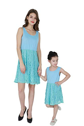 YMING Mommy and Me Matching Flower Dresses Family