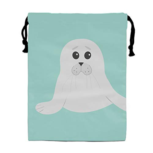 (Drawstring Bags Favors for Kids Cute Seal Pup Baby Harp Cartoon Character Design Backpack Rucksack Shoulder Bags Gym Bag, Arts & Crafts Activity )