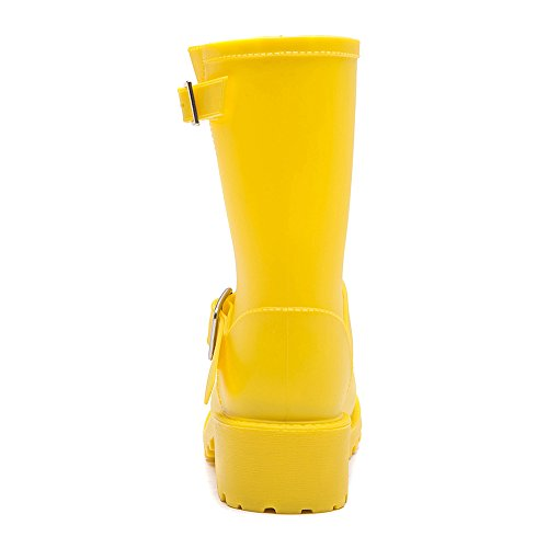 DKSUKO Womens Rain Boots with Elastic Adjust Waterproof -6 Colors-Motorcycle Boots for Girls JXC01 (7 B(M) US, Yellow) by DKSUKO (Image #2)