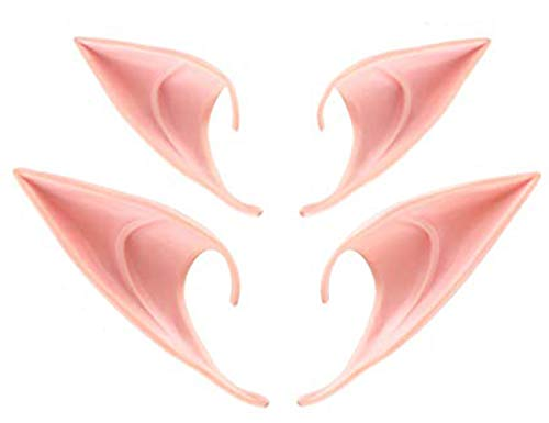 Itial-M Elf Ears Cosplay Accessories, Halloween Elven Vampire Ears, Fairy Goblin Ears, Anime Party Dress up Costume (2 -