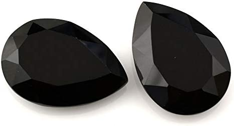 Ratnagarbha Black Onyx Cut pear Shape Faceted Loose gem Stone, Jewelry Making, Black Color, Wholesale Price.