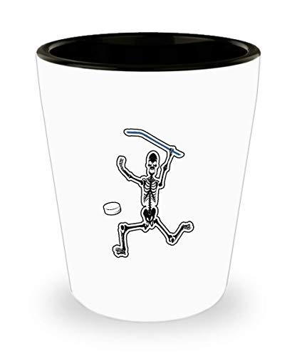 Hockey Shot Glass - Skeleton Ice Hockey Stick & Puck Halloween For Son Boy Jigger Gift - 1.5 Oz Shot Glasses -