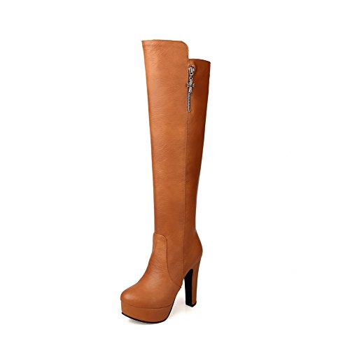 Blend Boots Heels Heels Women's PU Materials with Thick Brown High Allhqfashion zqY6E4nzw