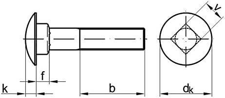 50 Stk Flachrundschraube mit Mutter DIN 603 M8 x 55 Stahl verzinkt