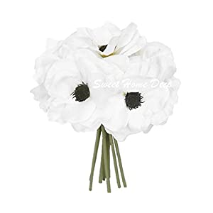 Sweet Home Deco 10'' Blooming Peony and Anemone Silk Artificial Wedding Bridal Bouquet/ Home Flower (No Pot Included) (White) 15