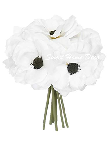 Sweet Home Deco 10'' Blooming Peony and Anemone Silk Artificial Wedding Bridal Bouquet/ Home Flower (No Pot Included) (White)