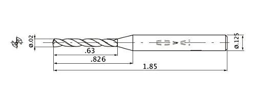 Internal Coolant 3.175 mm Shank Diameter 0.11 mm Point Length 12 Hole Depth 0.508 mm Cutting Diameter Mitsubishi Materials MWS00200XB MWS Solid Carbide Drill