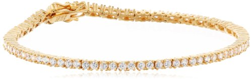 Amazon Essentials Yellow Gold Plated Sterling Silver Round Cut Cubic Zirconia Tennis Bracelet (2mm), 7