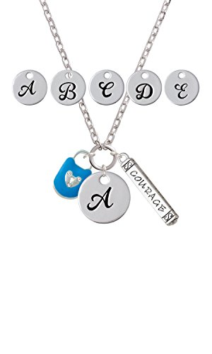 Hot Blue Enamel Lock with Clear Crystals Custom Initial Courage Strength Zoe Necklace