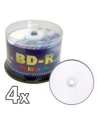 Melody 50 pcs BD-R Blu-ray Recordable White Inkjet Printable Blank Disc, 25GB, 1-4x