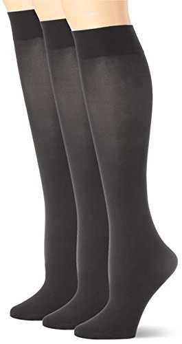 Women's Opaque Trouser Socks 3 Pairs Pack (Charcoal)