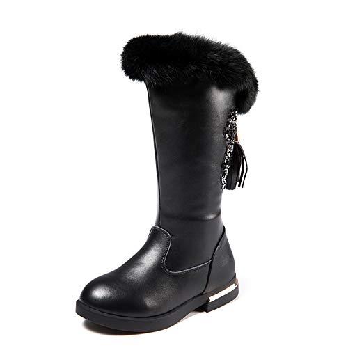 stay real Girl's Waterproof Back Zipper Fur Tall Riding Boots (Toddler/Little Kid/Big Kid) (Black,EU 34/2.5 M US Little Kid) ()