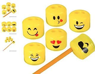 "RIN (24) 1.5"" Emoji Pencil and Crayon Sharpeners ~ Cute, Fun and Popular ~"
