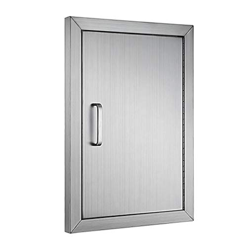 Happybuy BBQ Access Door Double Wall Construction Cutout 14W x 20H in. BBQ Island/Outdoor Kitchen Access Doors 304 Grade Brushed Stainless Steel Heavy Duty ()