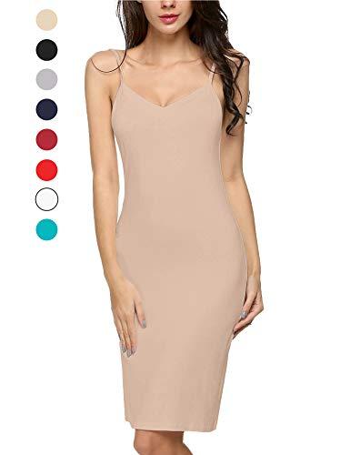 Avidlove Women Full Slips Cotton Blend V Neck Straight Dress Nightwear Skincolor (FBA) M