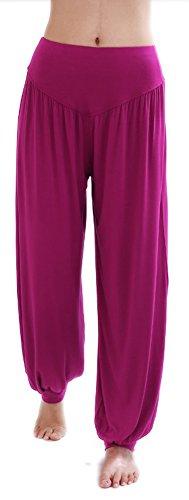 HOEREV Super Soft Modal Spandex Harem Yoga/ Pilates Pants,Purple-Red,Large ()