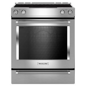 - KITCHENAID KSEG700ESS 30-Inch 5-Element Electric Slide-In True Convection Range, Aqualift Self Cleaning, Roller Rack, Steam Rack, Glass Controls