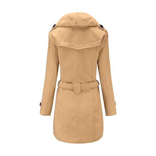 WYTong Hot Sale! Women's Double-Breasted Slim Wool-Blend Coat Solid Winter Warm Fur Collar Pocket Jacket
