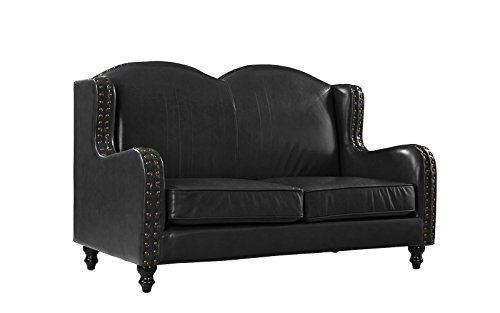 (Leather Match Loveseat 2 Seater, Living Room Couch with Nailhead Trim (Black))