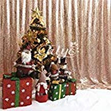 TRLYC Christmas Rose Gold 10FT By Sparkly Square Sequin Backdrop Baby Shower Curtain For Weddiing