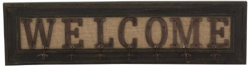 Primitive Craft Signs (Large Welcome Sign with 7 Hooks, Wood Burlap Metal Craft, 35-inch, Primitive Antique Style)