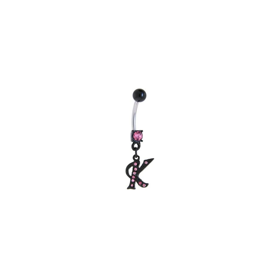 Black Anodized Pink Jeweled Initial Belly Ring Letter K Belly Button Piercing Rings Jewelry