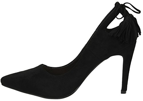 Kate Womens Ladies High Heel Fringe Suede Court Shoes Stiletto Party Sandals - SWANKYSWANS Black sO2UfW