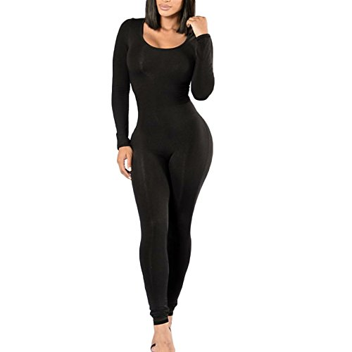 CHICFOR Womens Autumn Winter One Piece Unitard Full Bodysuit Crewneck Long Sleeve Catsuit Skinny Jumpsuit Lingerie Romper (Black, S) -