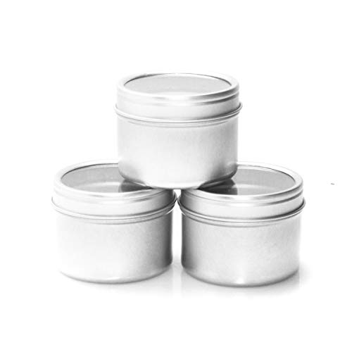(Mimi Pack 2 oz Small Deep Round Tin Can Clear Window Top Lid Steel Containers For Favors, Spices, Balms, Gels, Candles, Gifts, Storage 24 Pack (Silver))