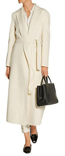 (Lingswallow Women's Elegant High Waisted Belted Wrap Lapel Wool Blend Long Trench Coat White)