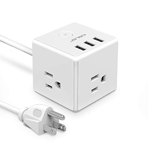 Compact Cube - JSVER Cube Cruise Power Strip 3 Outlet 3 USB Ports Desktop Charging Station with Switch and 4.92Ft Extension Cord for Travel, Home and Office Accessories