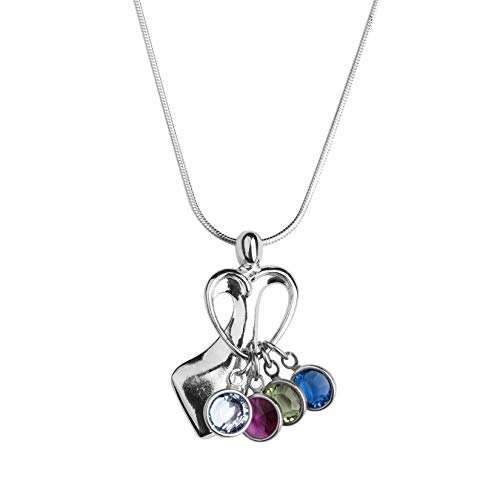 (Loving Family Sterling Silver Pendant Necklace with 4 Swarovski Crystal Birth Month Charms - 18