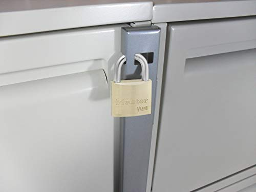 File Locking Bar - Gray with Drill Bit and Master Lock Keyed Padlock Included - 22.5'' Long - for use on a 2 Drawer File Cabinet by Computer Security Products (Image #1)