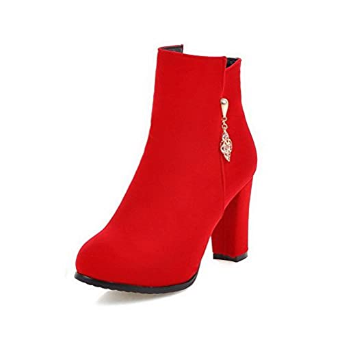 Women's High-Heels Frosted Low-Top Solid Zipper Boots With Charms Red 41