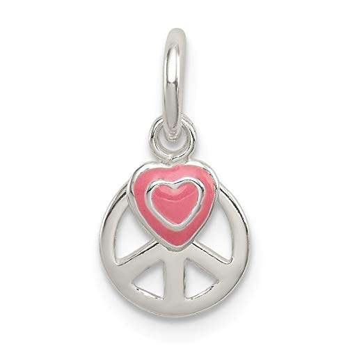 925 Sterling Silver Peace Sign Pink Enamel Heart Pendant Charm Necklace Fine Jewelry Gifts For Women For Her