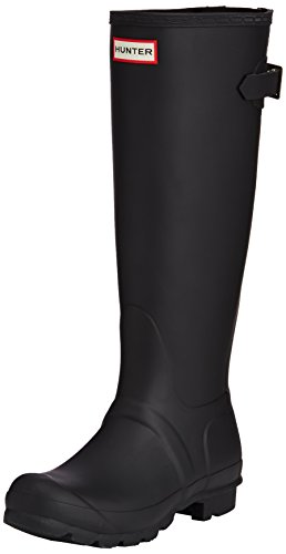 Hunters Boots Women's Original Back Adjustable Boots, Black, 7 B(M) US