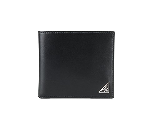 (Prada Vitello Calfskin Leather Bifold Wallet, Black (Nero))