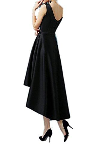 La_Marie Braut Schwarz Satin U-ausschnitt Abendkleider Partykleider Promkleider hi-lo A-linie Festlich