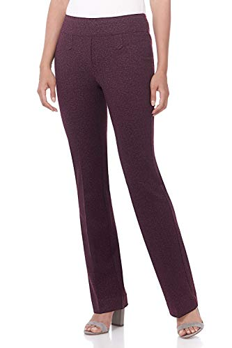 Rekucci Women's Secret Figure Pull-On Knit Bootcut Pant w/Tummy Control (18,Charcoal/Burgundy Herringbone)