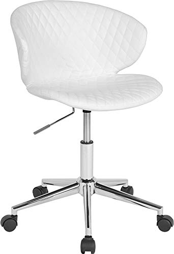 - StarSun Depot Cambridge Home and Office Upholstered Mid-Back Chair in White Vinyl 24.5