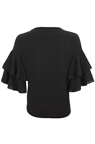be12072174ef3 ... Holgado Top Camiseta Con Negro Zafiro Volantes Textura Corta Manga  Crepé Mujer Boutique Blusa Elegante pw7q1fY8