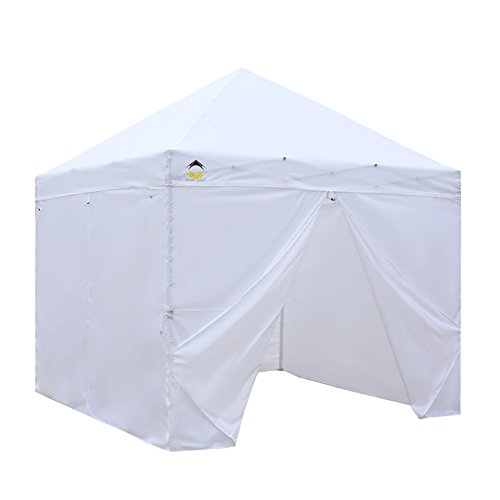CROWN SHADES Patented 10ft x 10ft Instant Commercial Canopy with 4 Removable Zipper End Sidewalls and Plus Wheeled Storage Bag, White (Gazebos And Shade Umbrellas)