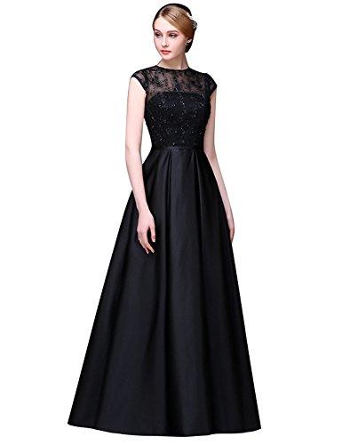 Emily Kurzarm O mit Beauty Abendkleider A Spitze Linie Rückenfrei Schwarz Ansatz RBFgqFd