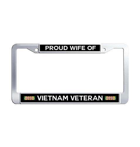 JiuznsFrame Proud Wife Vietnam Veteran License Plate Frame, Waterproof Metal Stainless Steel License Plate Frame Holder with Screw Caps